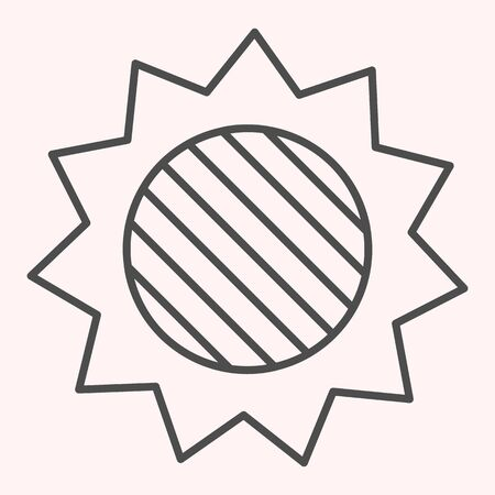 Solar eclipse thin line icon. Full lunar spot on sun in skyscape. Astronomy vector design concept, outline style pictogram on white background, use for web and app. Eps 10.