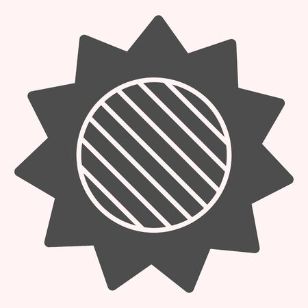 Solar eclipse glyph icon. Full lunar spot on sun in skyscape. Astronomy vector design concept, solid style pictogram on white background, use for web and app. Eps 10.