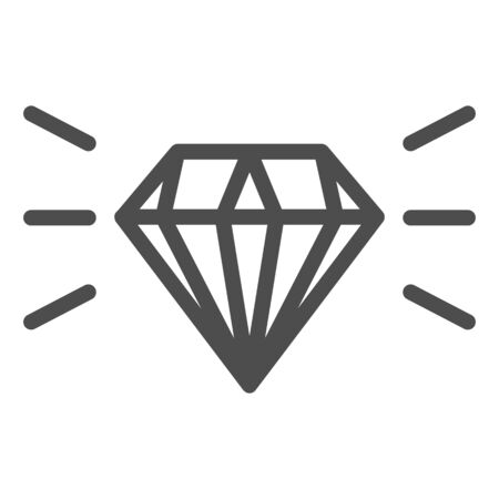 Diamond line icon. Gemstone vector illustration isolated on white. Jewelry outline style design, designed for web and app. Eps 10.