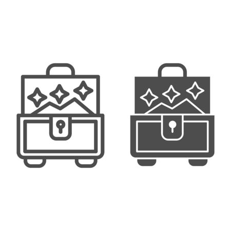 Jewellery chest line and glyph icon. Box for accessory vector illustration isolated on white. Treasure chest outline style design, designed for web and app. Eps 10.