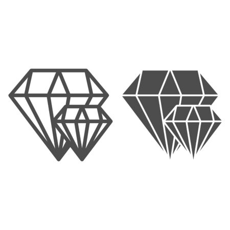 Diamonds line and glyph icon. Two brilliants vector illustration isolated on white. Jewelry outline style design, designed for web and app. Eps 10.