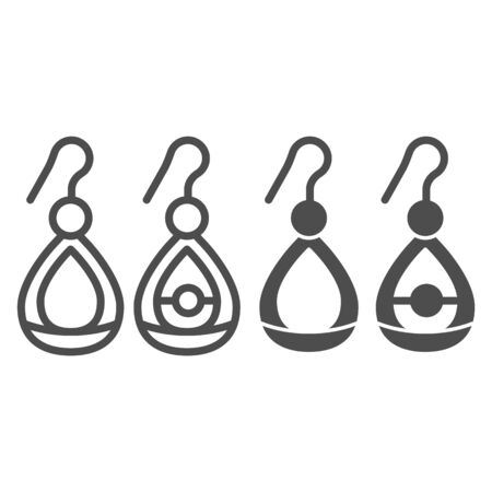 Earrings line and glyph icon. Ears jewel vector illustration isolated on white. Jewelry outline style design, designed for web and app. Eps 10.