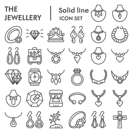 Jewellery line icon set, accessories symbols collection, vector sketches, logo illustrations, bijouterie signs linear pictograms package isolated on white background, eps 10.