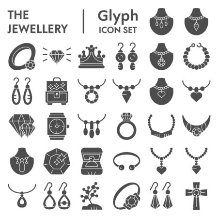 Jewellery glyph icon set, accessories symbols collection, vector sketches, logo illustrations, bijouterie signs solid pictograms package isolated on white background, eps 10. 일러스트