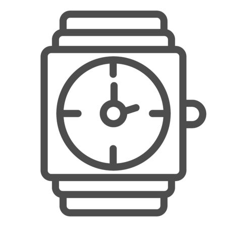 Wrist watch line icon. Gold watch vector illustration isolated on white. Men jewelry outline style design, designed for web and app. Eps 10.  イラスト・ベクター素材