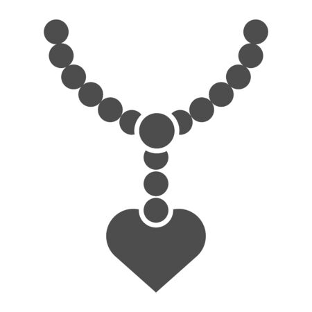 Pearls pendant with heart solid icon. Necklace with pearl vector illustration isolated on white. Jewel glyph style design, designed for web and app. Eps 10.