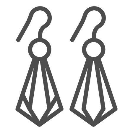 Crystal earrings line icon. Gemstone earrings vector illustration isolated on white. Jewelry outline style design, designed for web and app. Eps 10.