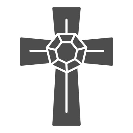 Jewel cross solid icon. Pendant cross with gemstone vector illustration isolated on white. Jewellery glyph style design, designed for web and app. Eps 10.