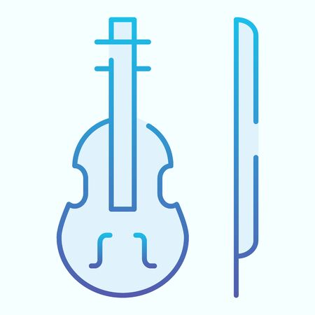 Violin flat icon. Stringed classical instrument vector illustration isolated on white. Musical instrument gradient style design, designed for web and app. Eps 10.