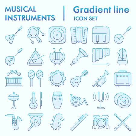 Musical instruments flat icon set, sound instruments symbols collection, vector sketches, logo illustrations, music equipment signs gradient pictograms package isolated on white background, eps 10