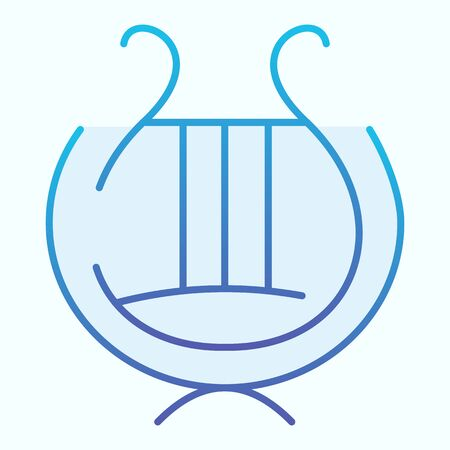 Greek lyre instrument flat icon. Ancient lira instrument vector illustration isolated on white. Musical instrument gradient style design, designed for web and app. Eps 10
