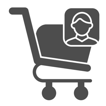 Consumer basket account glyph icon. Market trolley customer avatar. Commerce vector design concept, solid style pictogram on white background, use for web and app. Eps 10. 일러스트