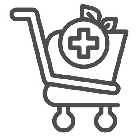 Pharmacy drugstore shopping line icon. Market cart with medical cross sign. Commerce vector design concept, outline style pictogram on white background, use for web and app. Eps 10.