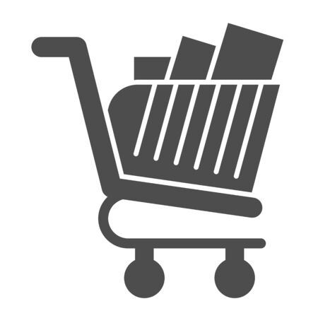 Full shopping cart glyph icon. Market trolley with product packages. Commerce vector design concept, solid style pictogram on white background, use for web and app. Eps 10.