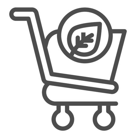 Eco shopping line icon. Ecology market trolley with leaf button. Commerce vector design concept, outline style pictogram on white background, use for web and app. Eps 10.