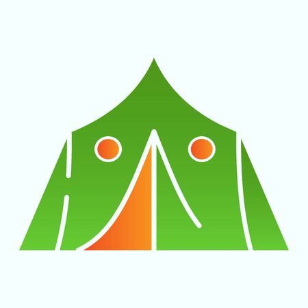 Tourist tent flat icon. Military tent vector illustration isolated on white. Camping shelter gradient style design, designed for web and app. Eps 10. Ilustração