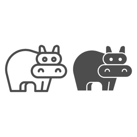 Hippopotamus line and solid icon. Cute hippo. Animals  design concept