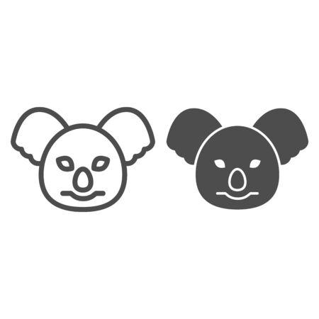Coala head line and solid icon. Cute australian animals.  Animals  design concept 일러스트
