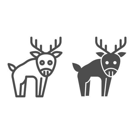 Deer line and solid icon. Horned wild forest animal. Animals  design concept