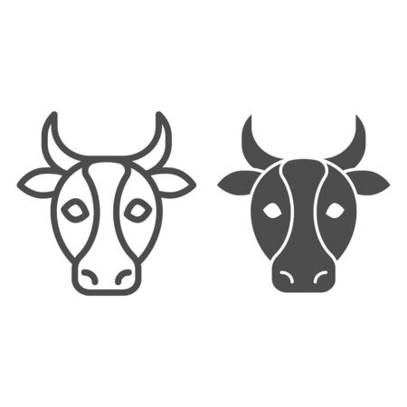 Cow, bull head line and solid icon. Farm animal face silhouette, looking at you. Animals vector design concept, outline style pictogram on white background, use for web and app. Eps 10.