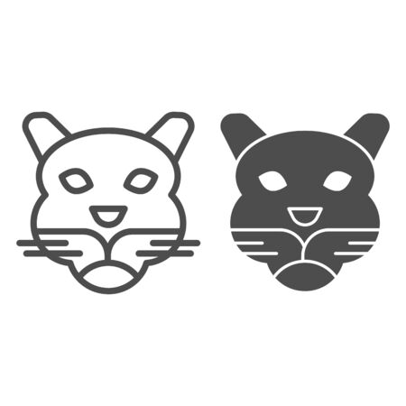 Tiger head line and solid icon. Wild animal face. Animals  design concept