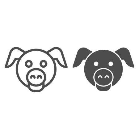 Pig head line and solid icon. Domestic farm hog.  Animals  design concept