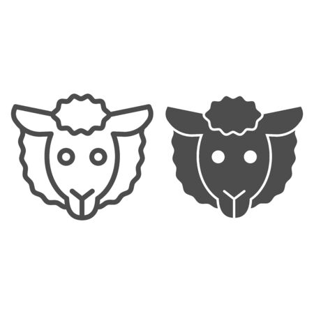 Sheep head line and solid icon. Farm lamb.  Animals  design concept Stok Fotoğraf - 140883476