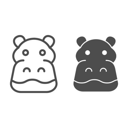 Hippopotamus line and solid icon. Cute hippos face. Animals  design concept
