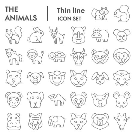 Animals thin line icon set, Wild nature collection. Animals  design concept