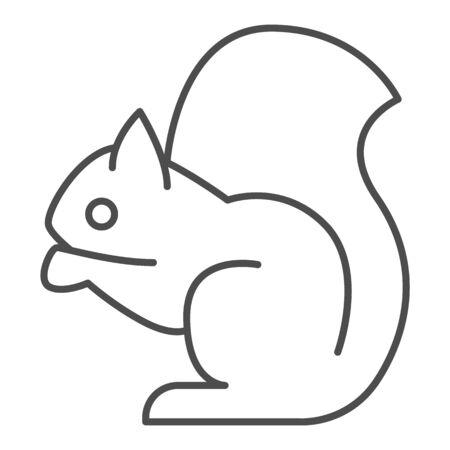 Squirrel thin line icon. Sitting forest animal. Animals design concept Ilustración de vector