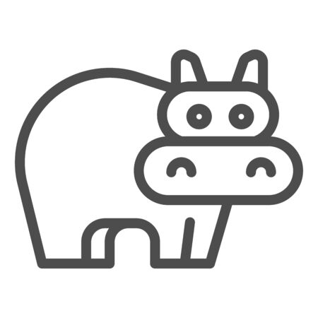 Hippopotamus line icon. Cute hippo. Animals  design concept