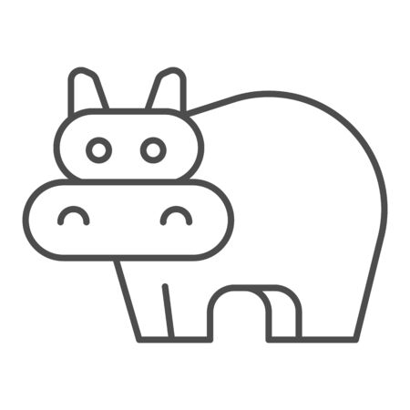 Hippopotamus thin line icon. Cute hippo. Animals  design concept