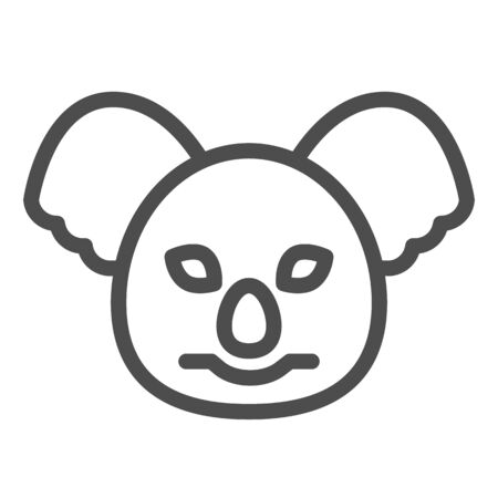 Coala head line icon. Cute australian animal face simple silhouette. Animals vector design concept, outline style pictogram on white background, use for web and app. Eps 10.
