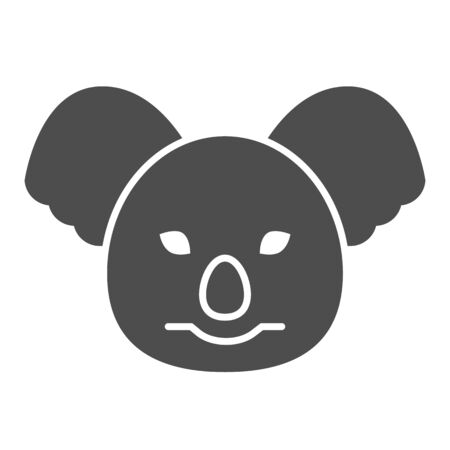 Coala head solid icon. Cute australian animal face simple silhouette. Animals vector design concept, glyph style pictogram on white background, use for web and app. Eps 10. 일러스트