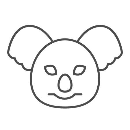 Coala head thin line icon. Cute australian animal face. Animals  design concept 일러스트