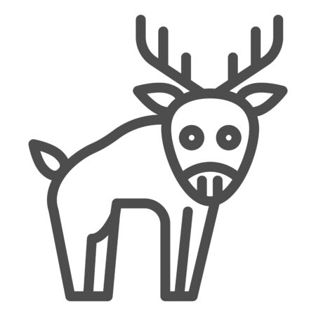 Deer line icon. Horned wild forest animal. Animals  design concept 일러스트