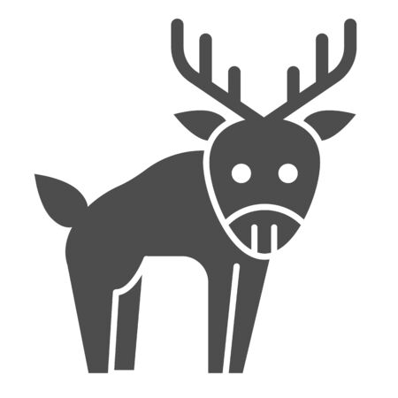 Deer solid icon. Horned wild forest animal. Animals  design concept 일러스트