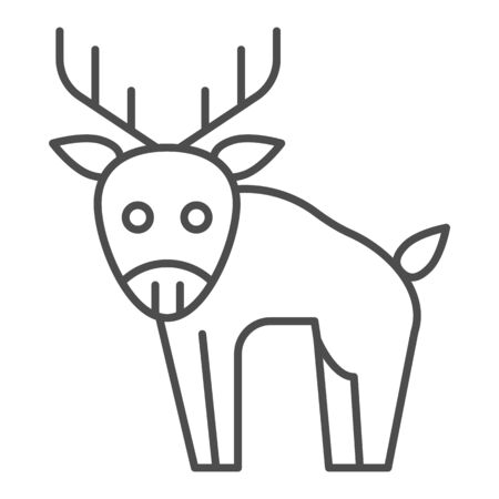 Deer thin line icon. Horned wild forest animal. Animals  design concept 일러스트