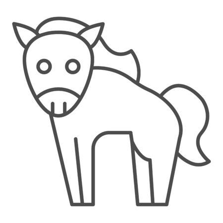Horse thin line icon. Cute farm animal. Animals  design concept