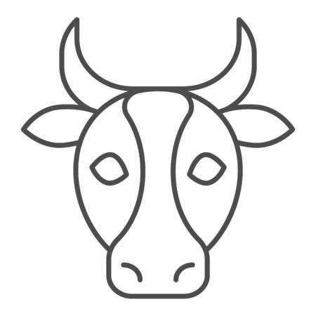 Cow, bull head thin line icon. Farm animal face silhouette, looking at you. Animals vector design concept, outline style pictogram on white background, use for web and app. Eps 10. Ilustrace