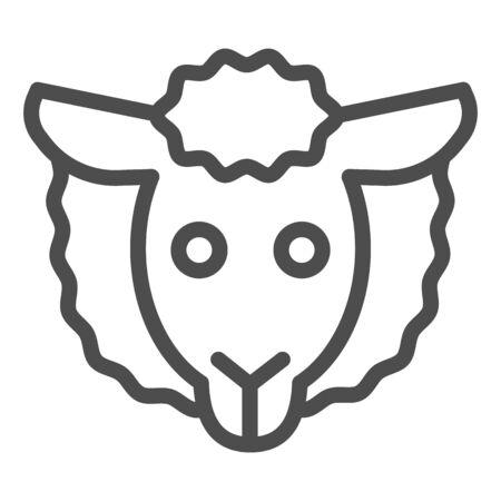Sheep head line icon. Minimal sheep face symbol, farm lamb.  Animals  design concept Çizim