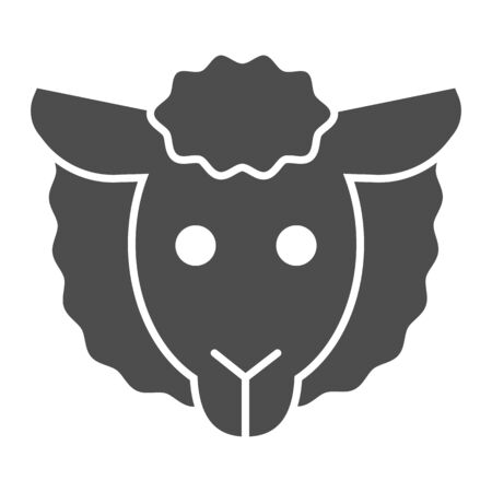 Sheep head solid icon. Minimal sheep face symbol, farm lamb.  Animals  design concept