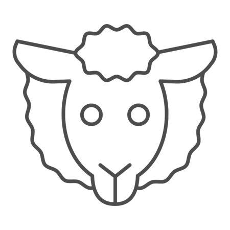Sheep head thin line icon. Minimal sheep face symbol, farm lamb.  Animals  design concept