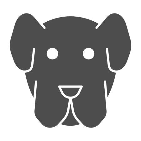 Dog muzzle solid icon. Minimal domestic animal face symbol, puppy head shape. Animals design concept