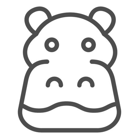 Hippopotamus line icon. Cute hippos face. Animals  design concept
