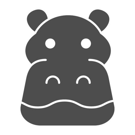 Hippopotamus solid icon. Cute hippos face. Animals  design concept Illusztráció