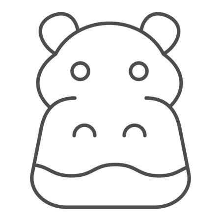 Hippopotamus thin line icon. Cute hippos face. Animals  design concept