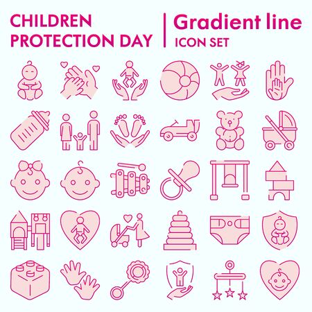 Children protection day flat icon set, baby stuff symbols collection