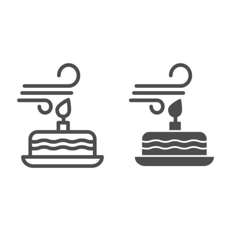 Blowing out the candles line and solid icon. Blow candle on party cake and make a wish. Happy Birthday design concept, outline style pictogram on white background