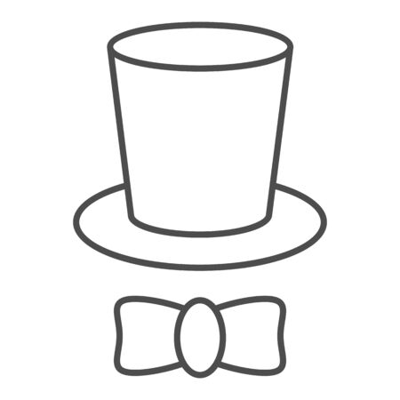 Magician cap thin line icon. Black mans retro gentleman hat cylinder and bow.